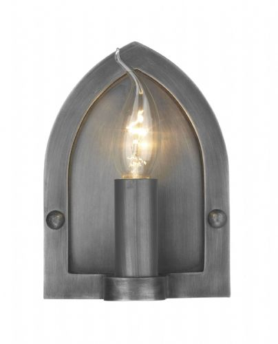Lindisfarne 1-light Antique Pewter Finish Wall Light LW8 (Class 2 Double Insulated)